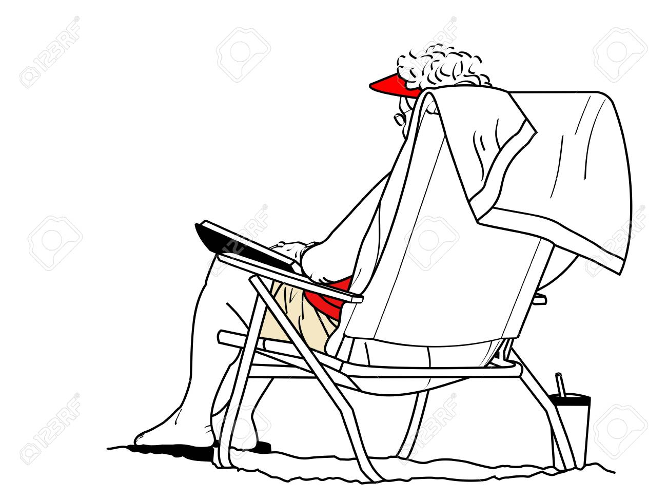 1300x974 Line Drawing Ofn Older Woman Sitting In Chair Reading