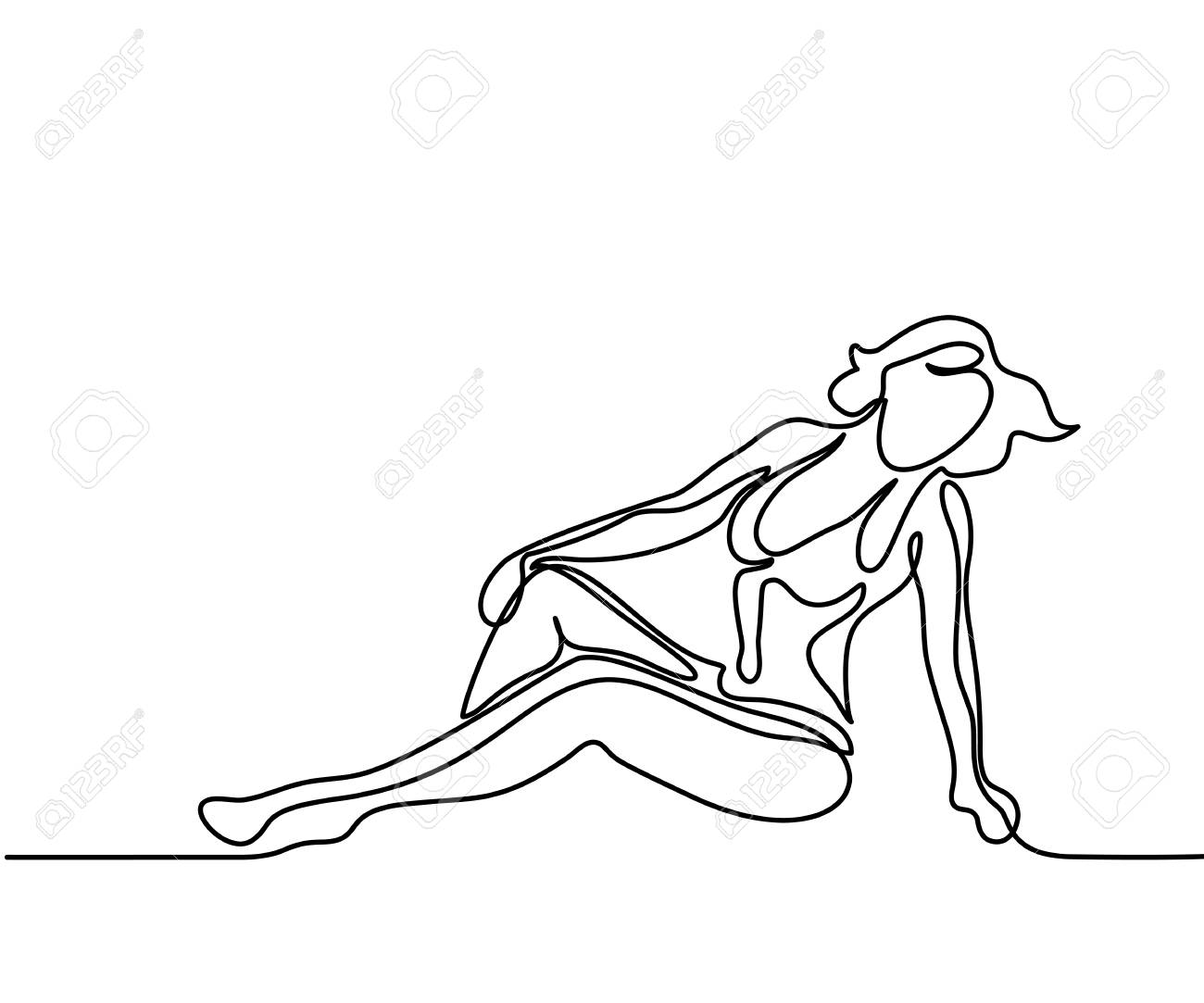 1300x1083 Woman Sitting On The Beach. Continuous Line Drawing. Illustration