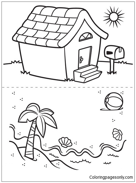 446x599 House And Beach Coloring Page