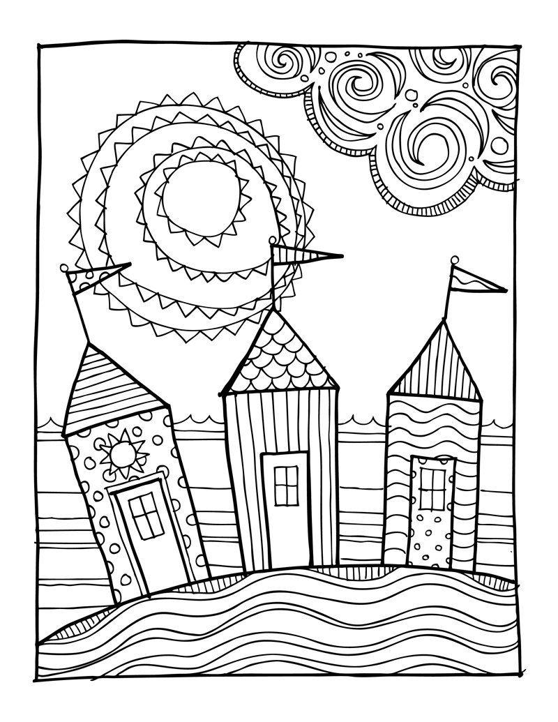 800x1035 KPM Doodles Coloring Page Beach Houses Por Kpmdoodles En Etsy