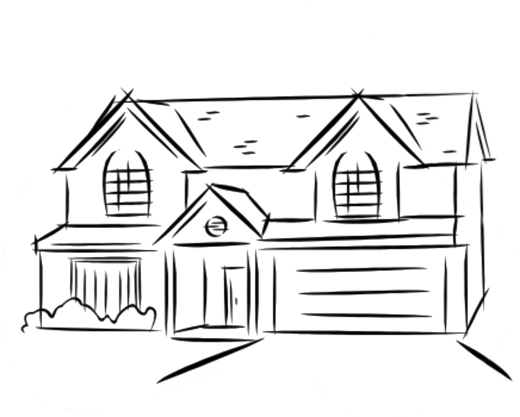 1817x1458 Modern House Drawing Step By