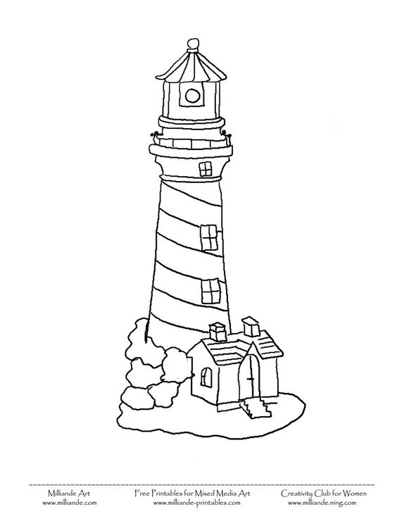 564x730 Simple Lighthouse Printable Coloring Pages