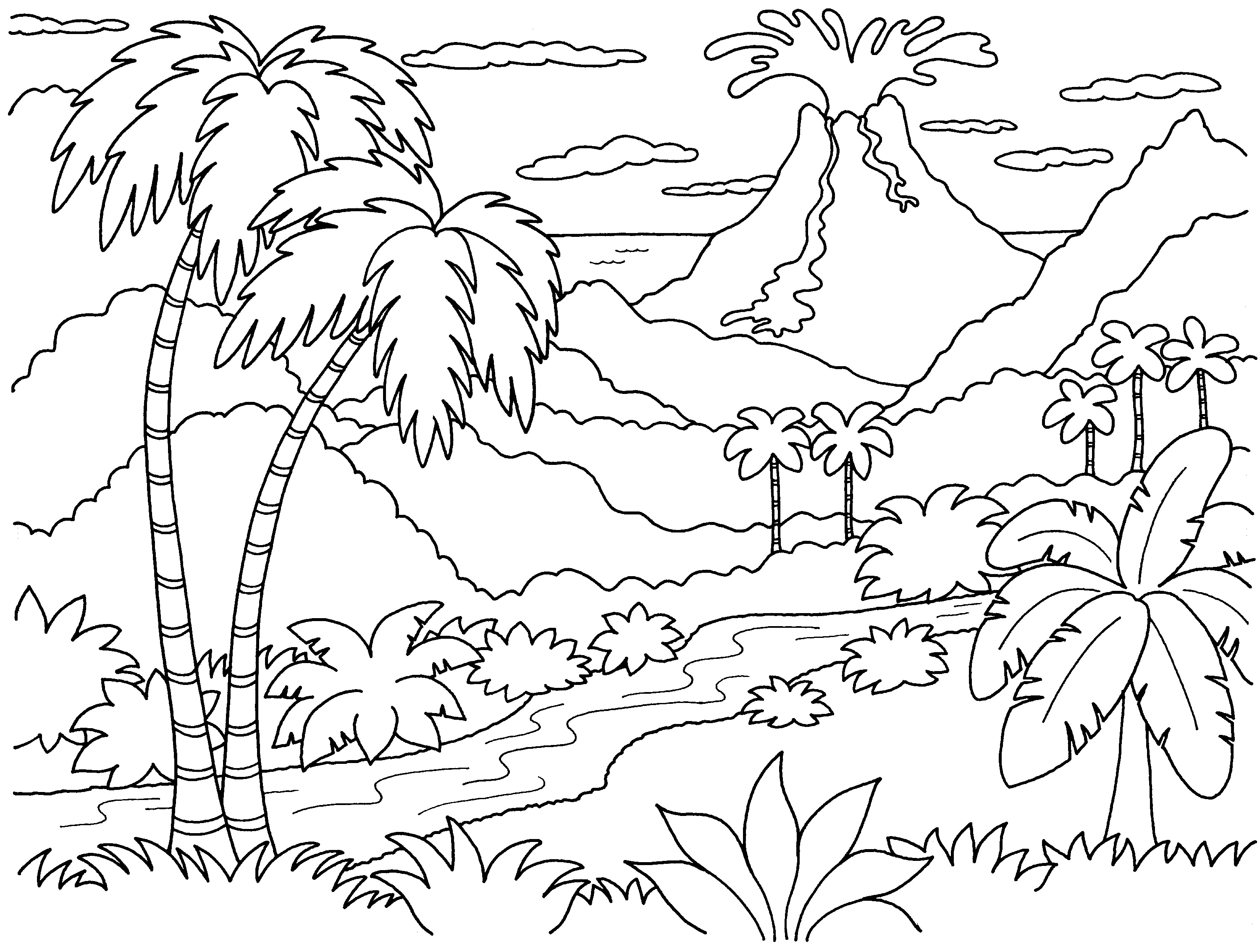 3000x2267 Nature Island Coloring Pages Print