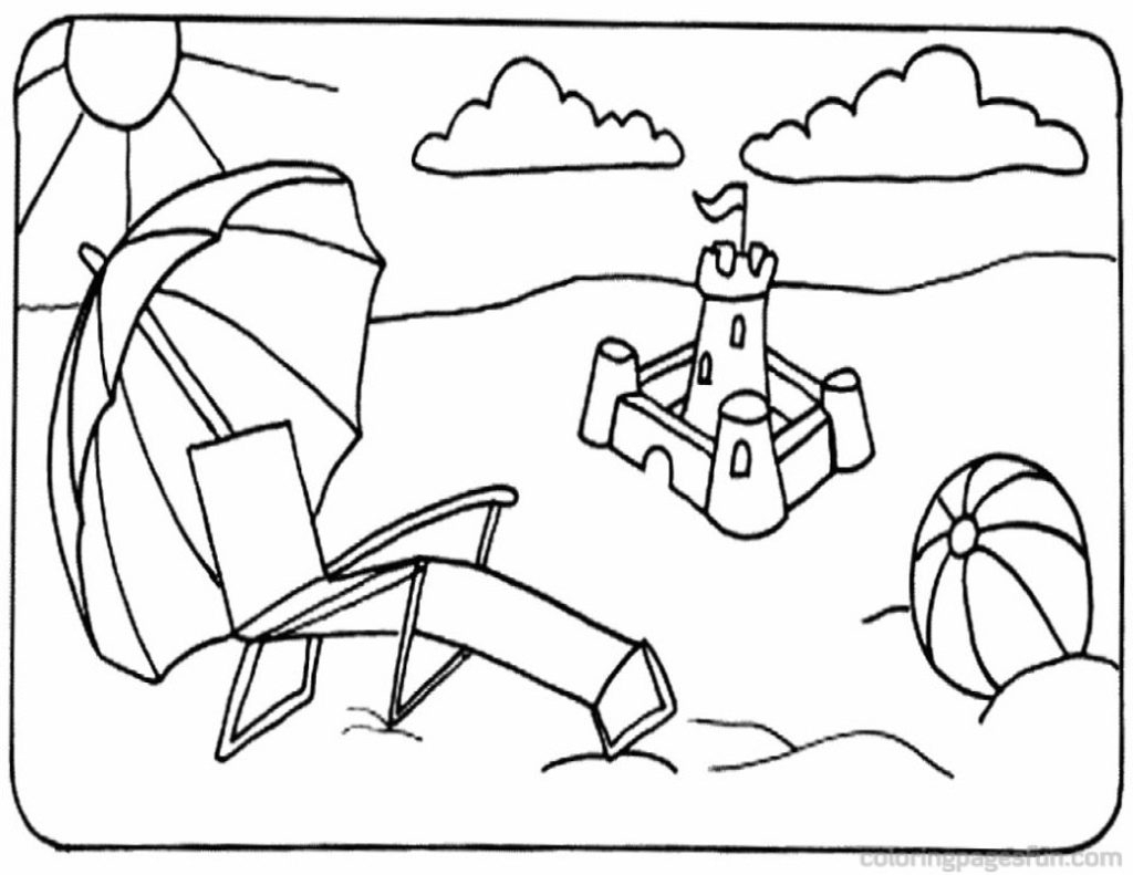 1024x791 Beach Landscape Coloring Pages Scene
