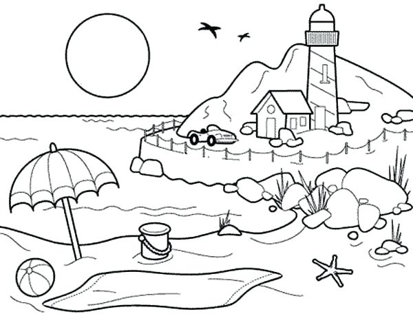 600x459 Beach Coloring Page Landscapes Beach Landscapes With Lighthouse