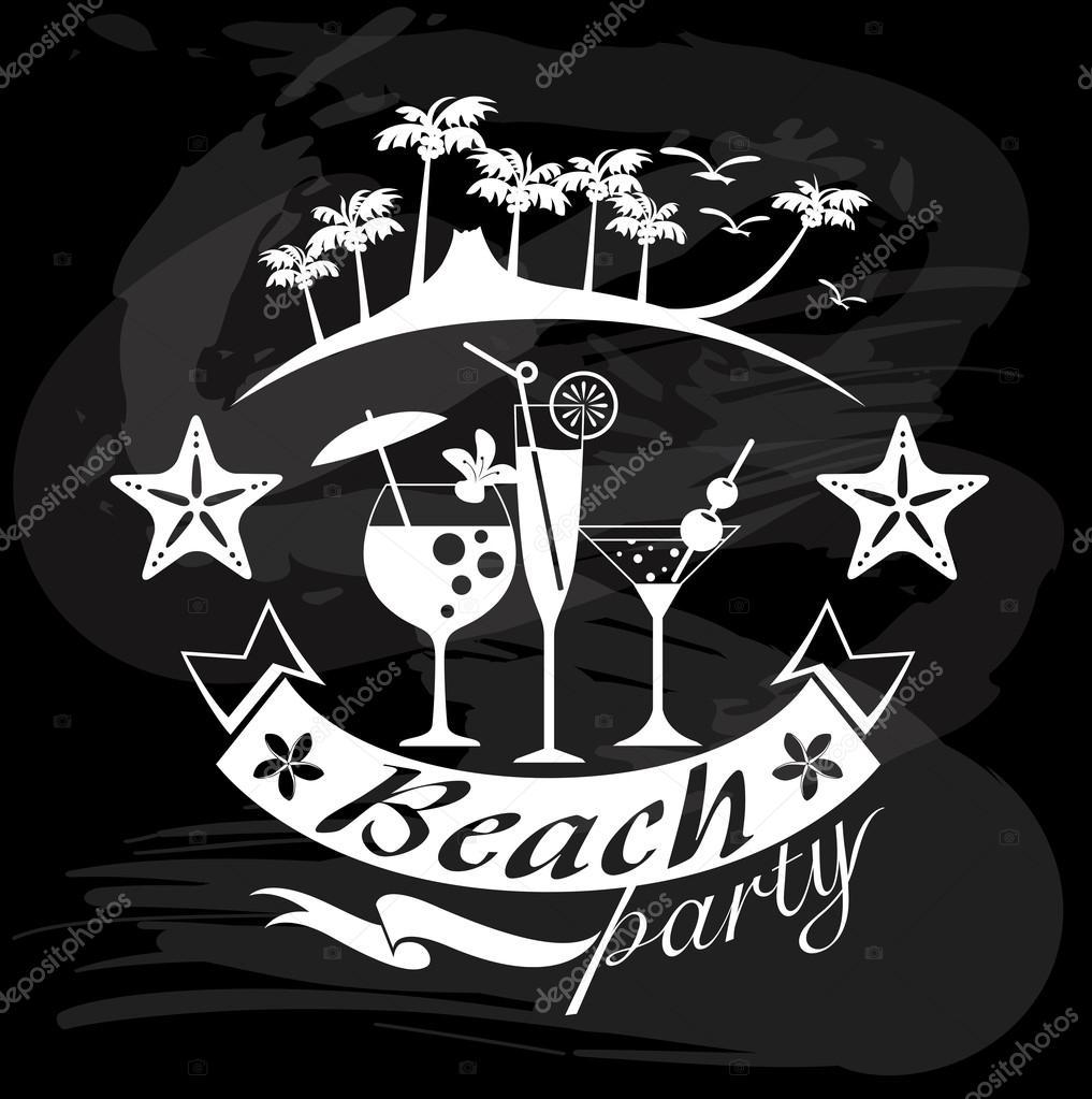 1017x1023 Beach Party, Summer Calligraphic Designs Stock Vector