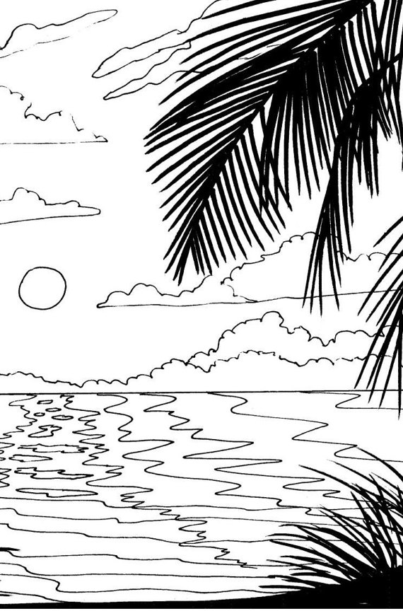 570x864 Beach Sunrise Coloring Page