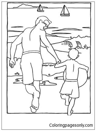 314x427 Father And Son Beach Scene Coloring Page