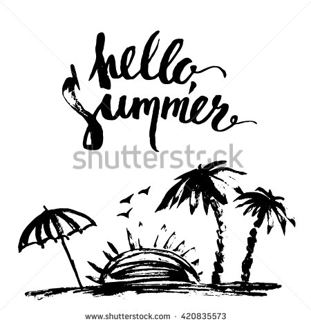 450x470 Hand Drawn Ink Summer Design. Summer Print With Beach Scene, Palm