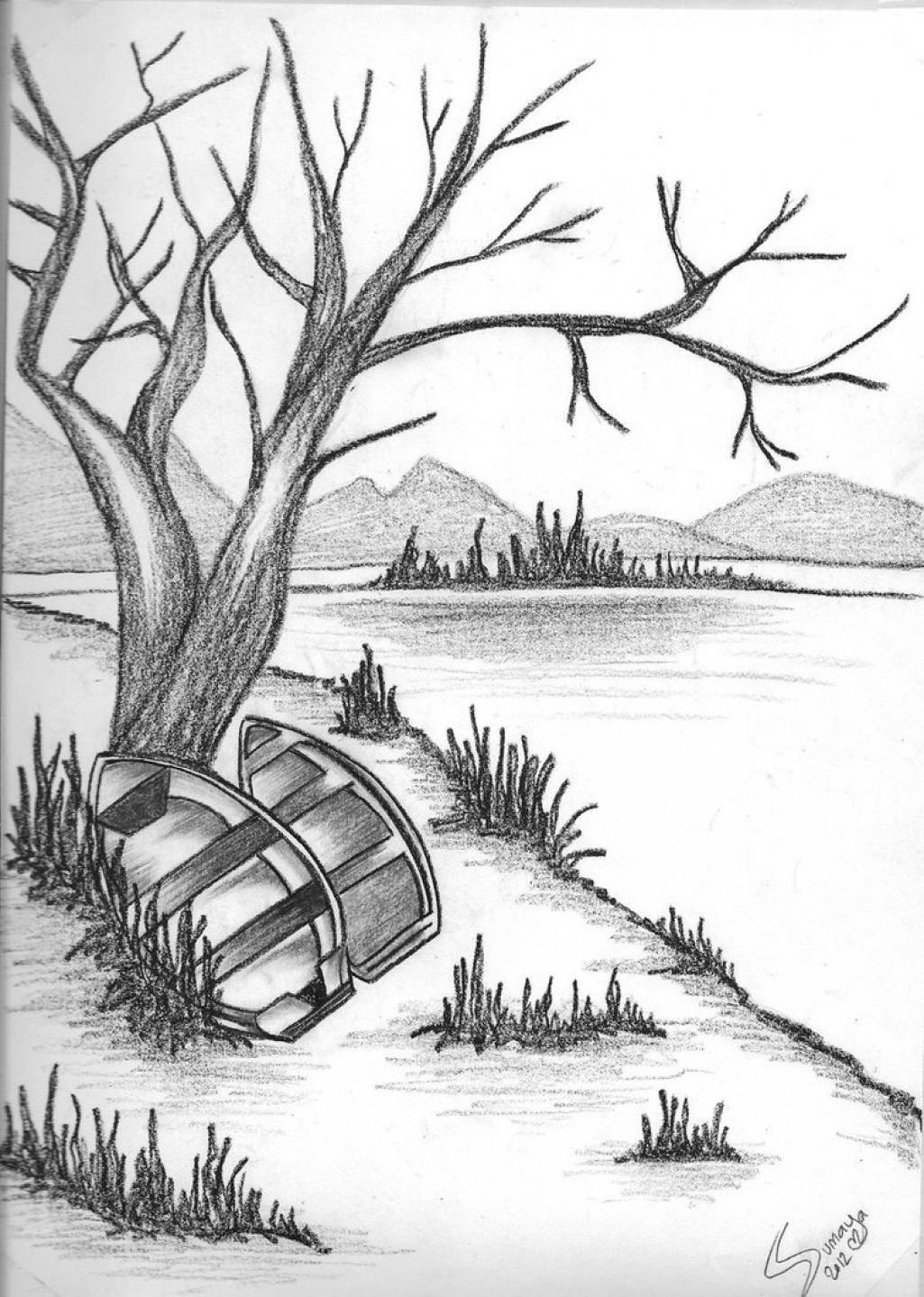 1025x1439 Pencil Sketches Of Nature Beach Scenes Nature Scene Drawing Images