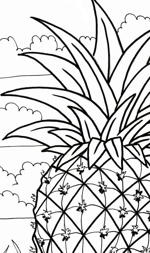 570x964 Pineapple Coloring Page