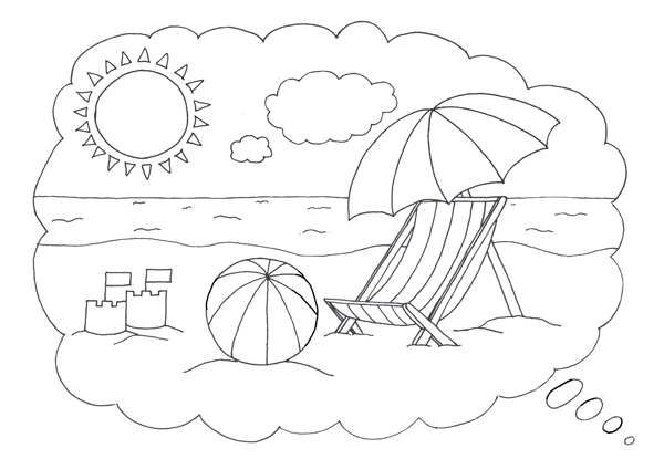 600x424 Beach Scene Coloring Pages