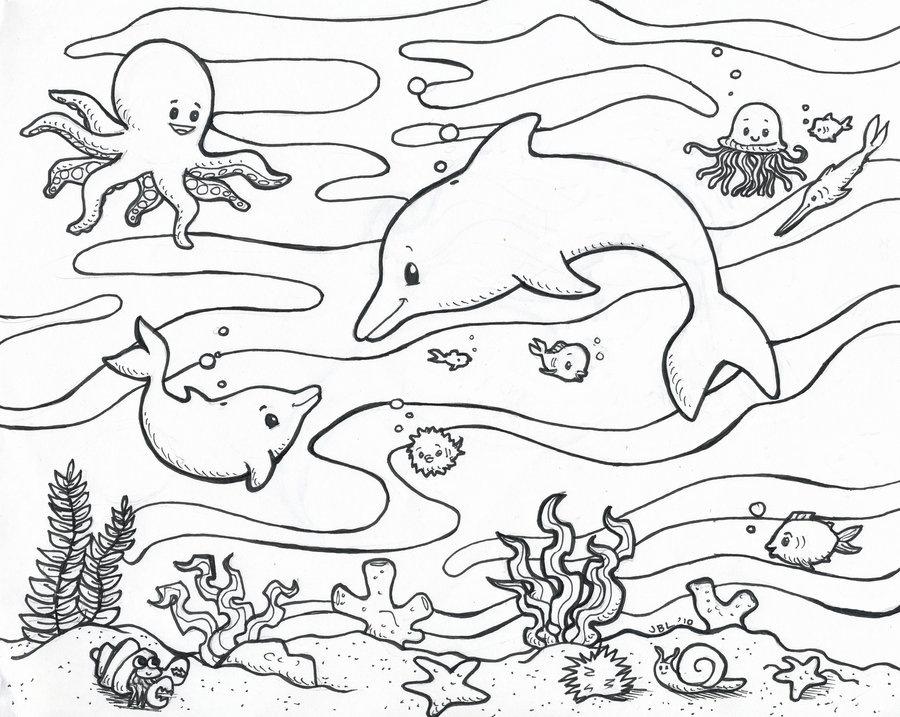 900x717 Ocean Scene Coloring Pages For Kids