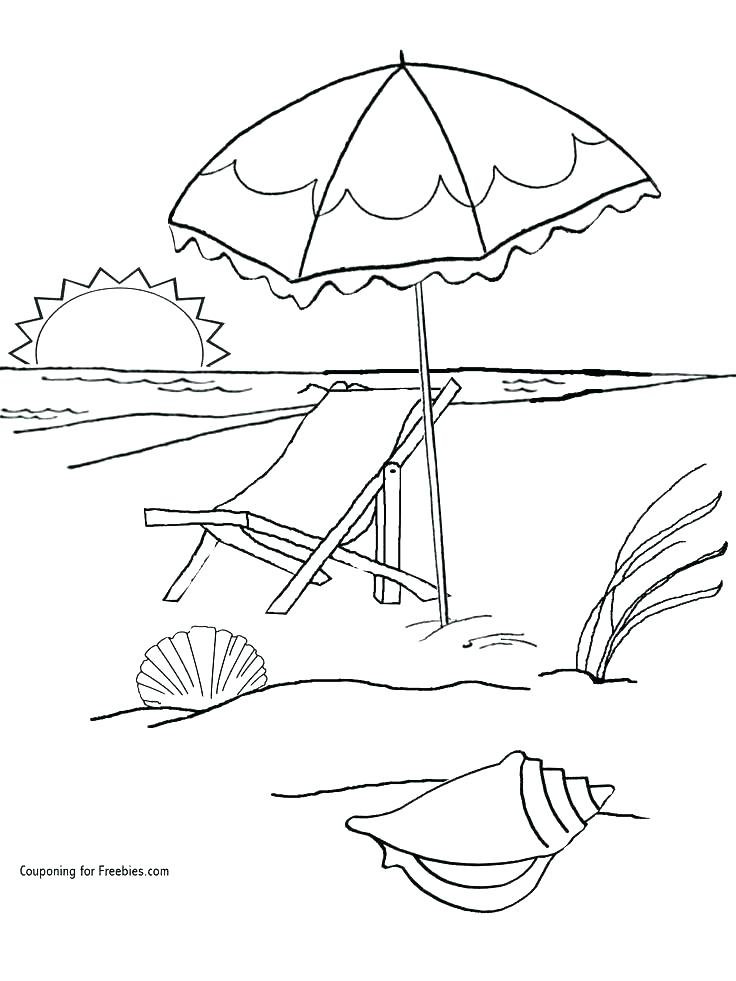 736x981 Beach Coloring Pages Summer Beach Coloring Sheets Beach Scene