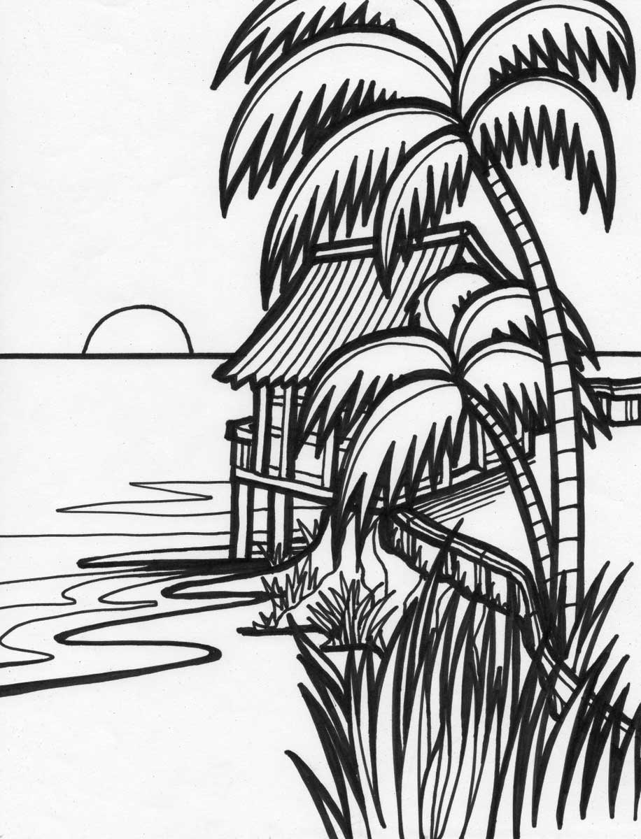 Beach Sunset Drawing at GetDrawings | Free download