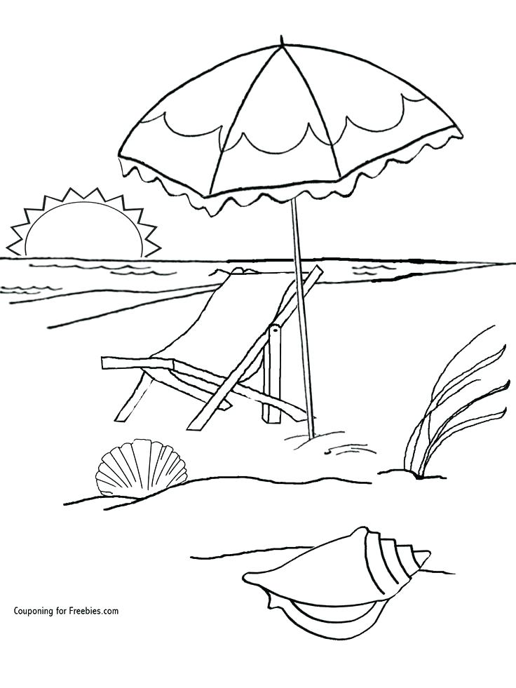 736x981 Beach Umbrella Coloring Pages Free