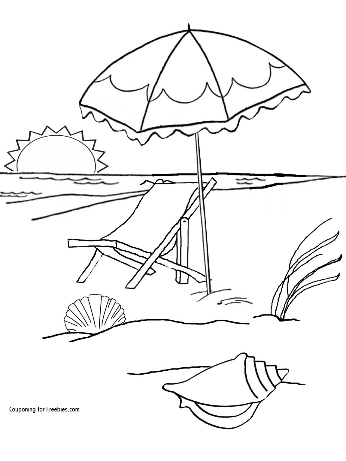 1152x1536 FREE Summer At The Beach Coloring Page