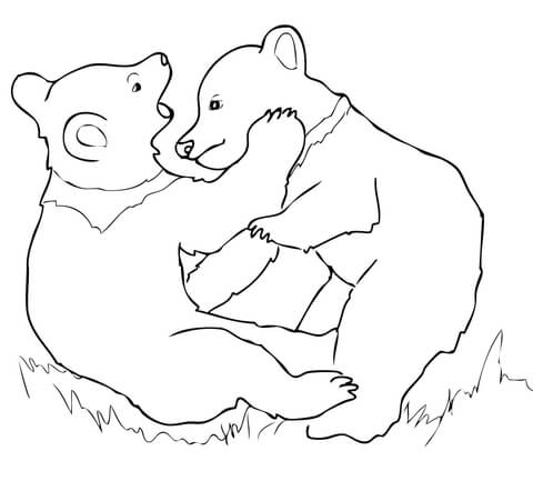480x433 Grizzly Bear Cubs Playing Coloring Page Free Printable Coloring