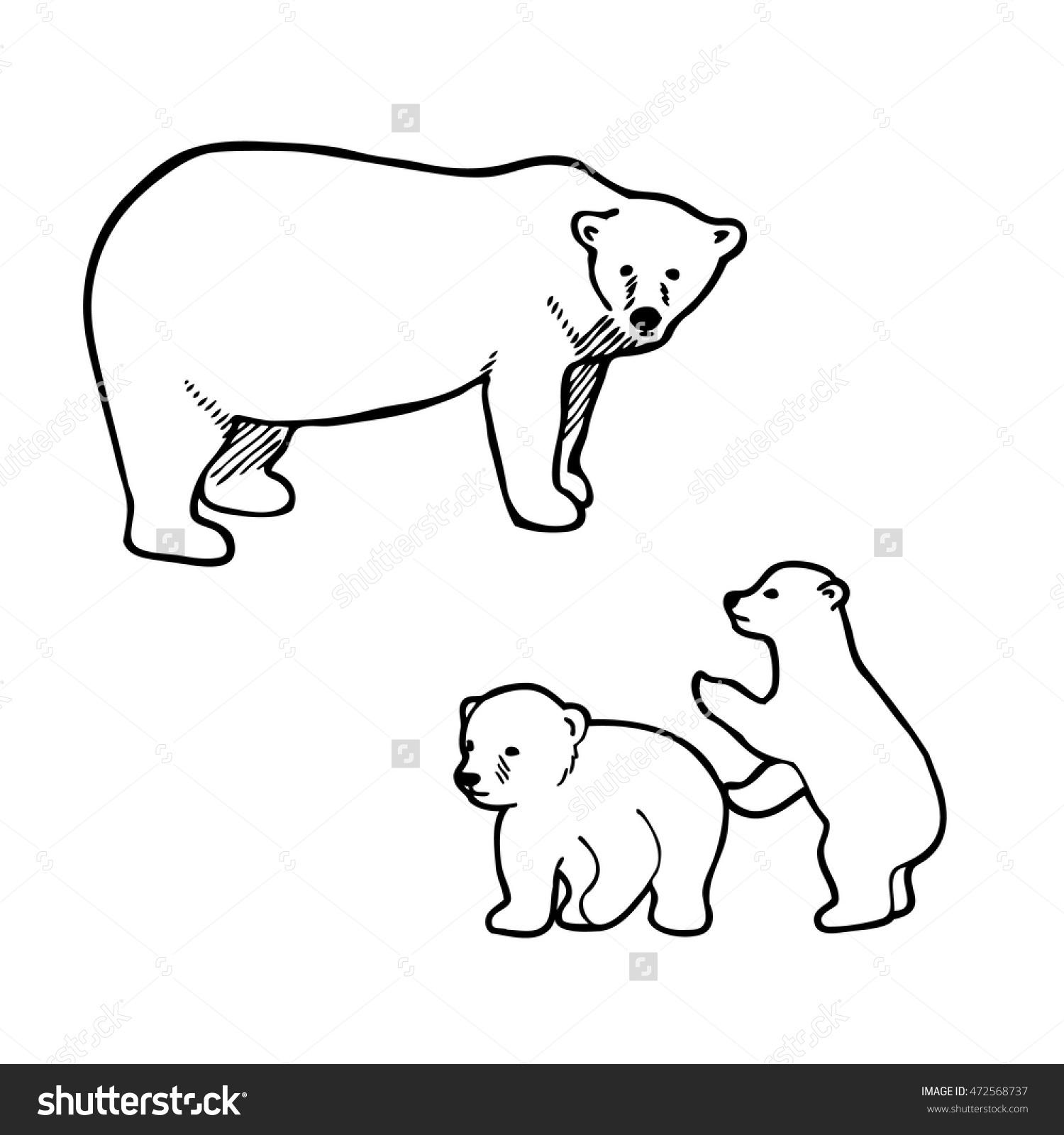 1500x1600 Polar Bear Outline Drawing Polar Bear Playing Cubs Outline Vector