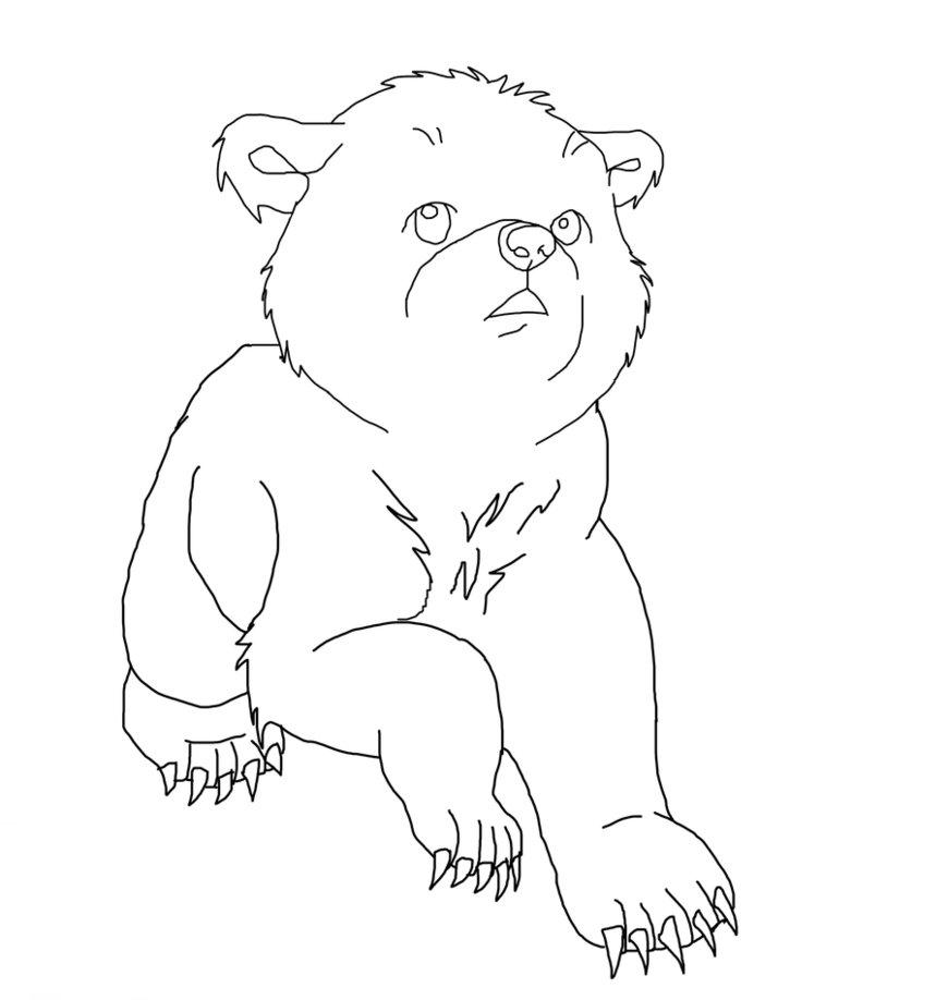 870x918 Bear Cub Lineart By Soren12 1
