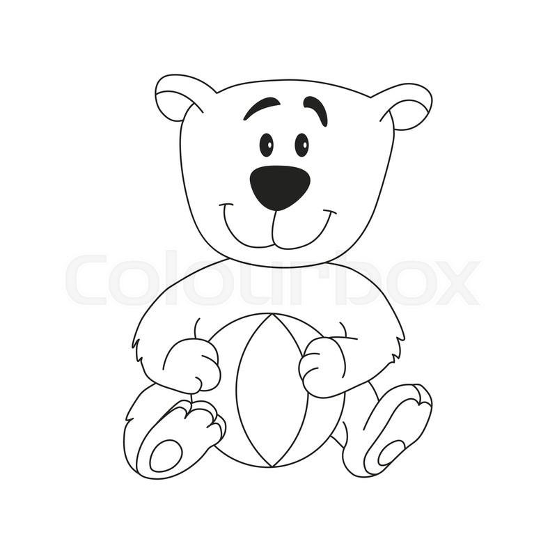 800x800 Cute Teddy Bear With Ball. Cartoon Outline Illustration Of Animal