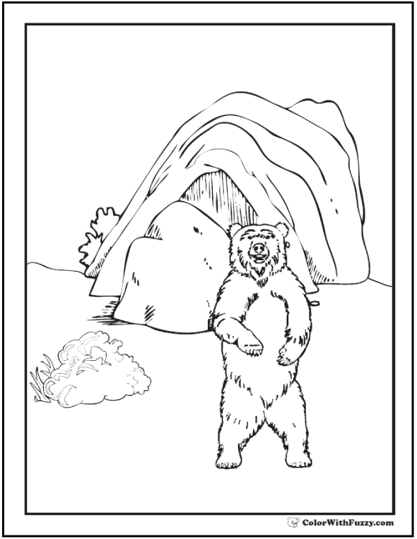 590x762 Coloring Pages Bear And Den