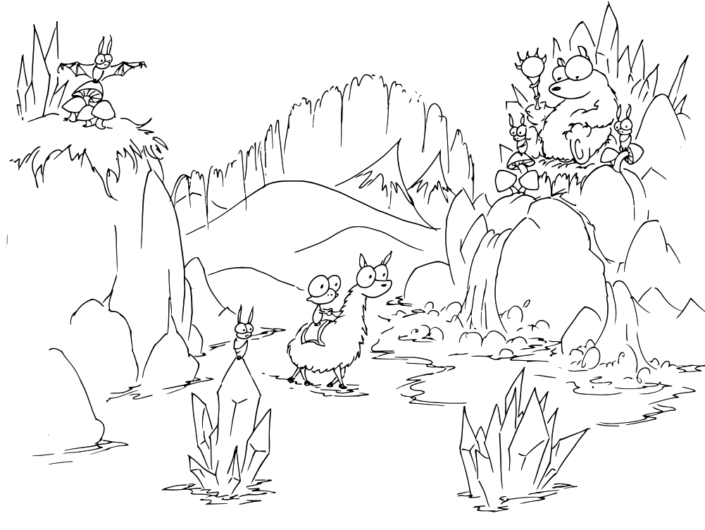 1001x752 Coloring Pages Monkey Riding Into A Bear Cave