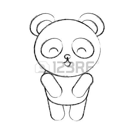 450x450 Cute Sketch Draw Panda Bear Face Graphic Design Royalty Free