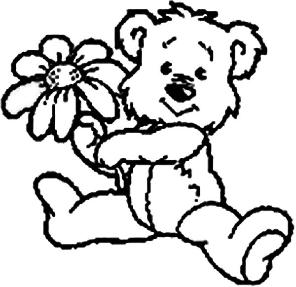 600x582 Cute Teddy Bear Give You A Rose Coloring Page Color Luna