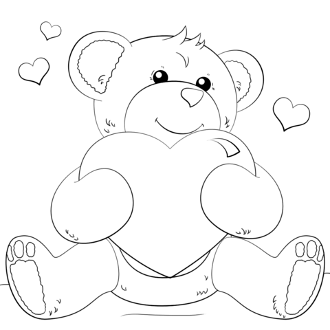 480x480 Cute Bear With Heart Coloring Page Free Printable Coloring Pages