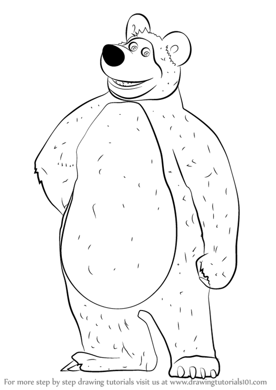 566x800 Learn How to Draw The Bear from Masha and the Bear (Masha and the