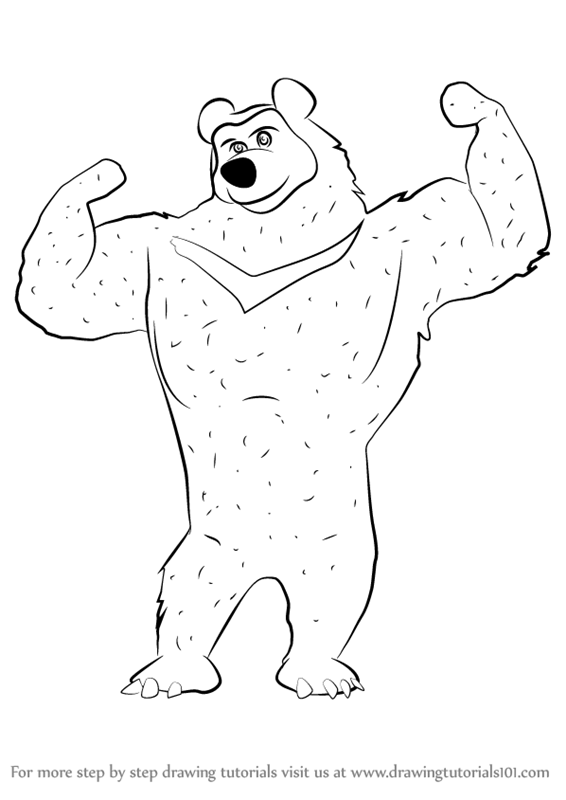 566x800 Learn How to Draw The Black Bear from Masha and the Bear (Masha