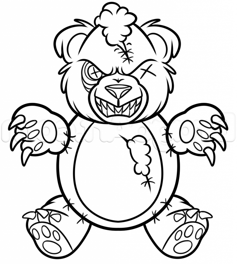920x1024 Teddy Bear Drawing A Drawing Of A Teddy Bear How To Draw A Scary
