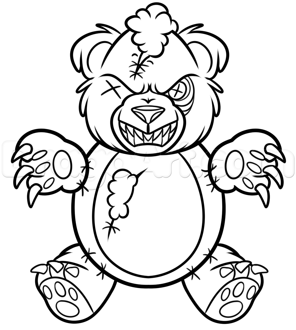 989x1100 Teddy Bear Drawing Step By Step