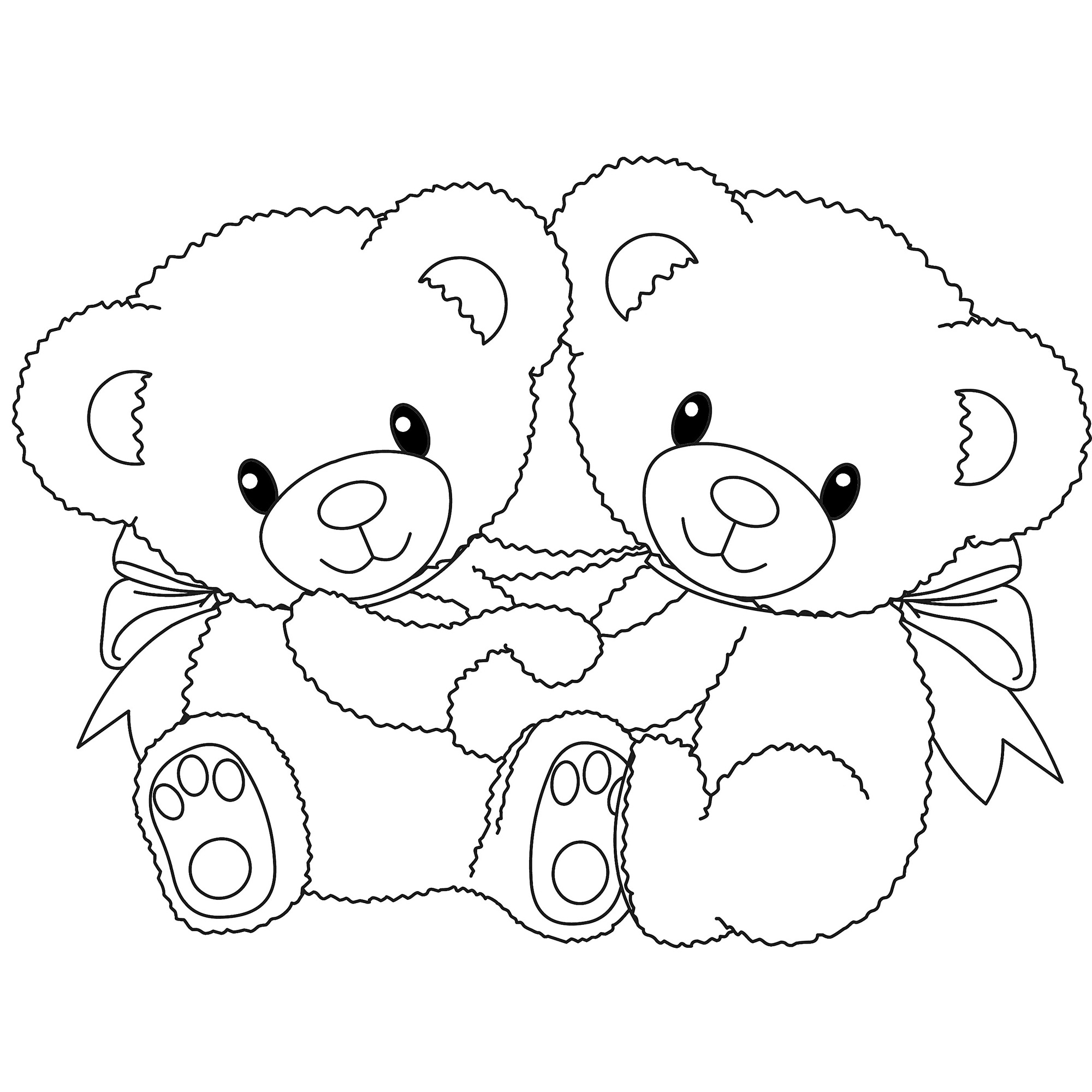 2000x2000 Two Cute Teddy Bears Drawings Drawn Love Teddy Bear