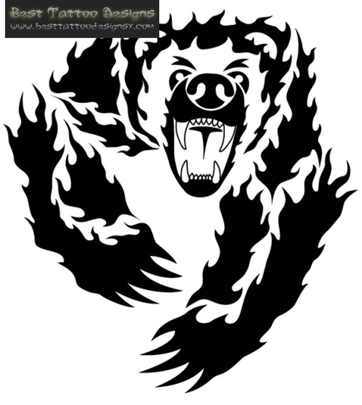 716x800 Collection Of Black Angry Bear Face Tattoo