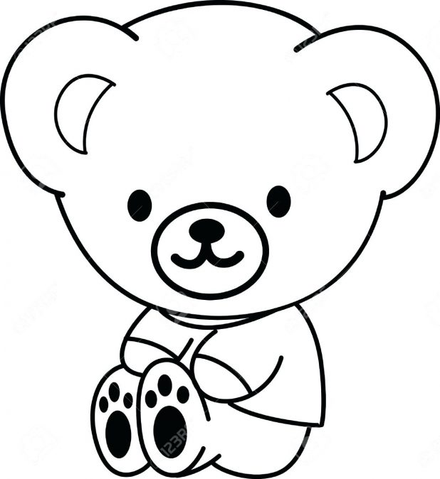 618x674 Coloring Captivating Outline A Teddy Bear. Outline Drawings