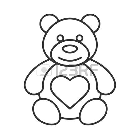 450x450 Teddy Bear With Heart Shape Linear Icon. Thin Line Illustration