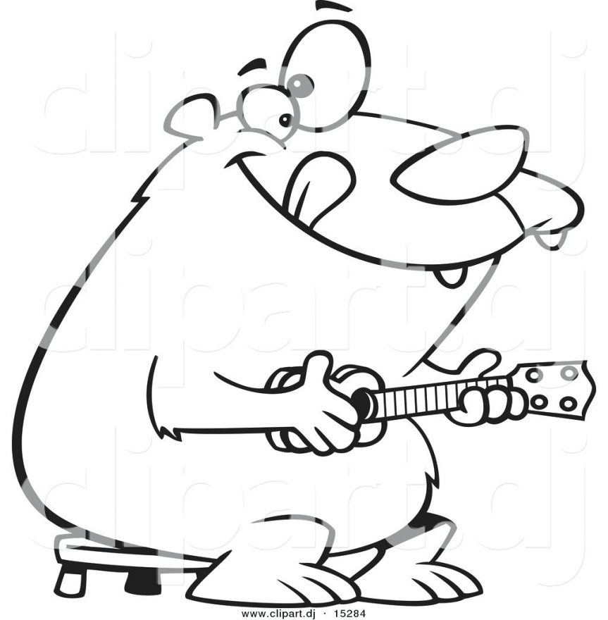 863x880 Vector Of A Cartoon Bear Playing Coloring Page Outline Outlines