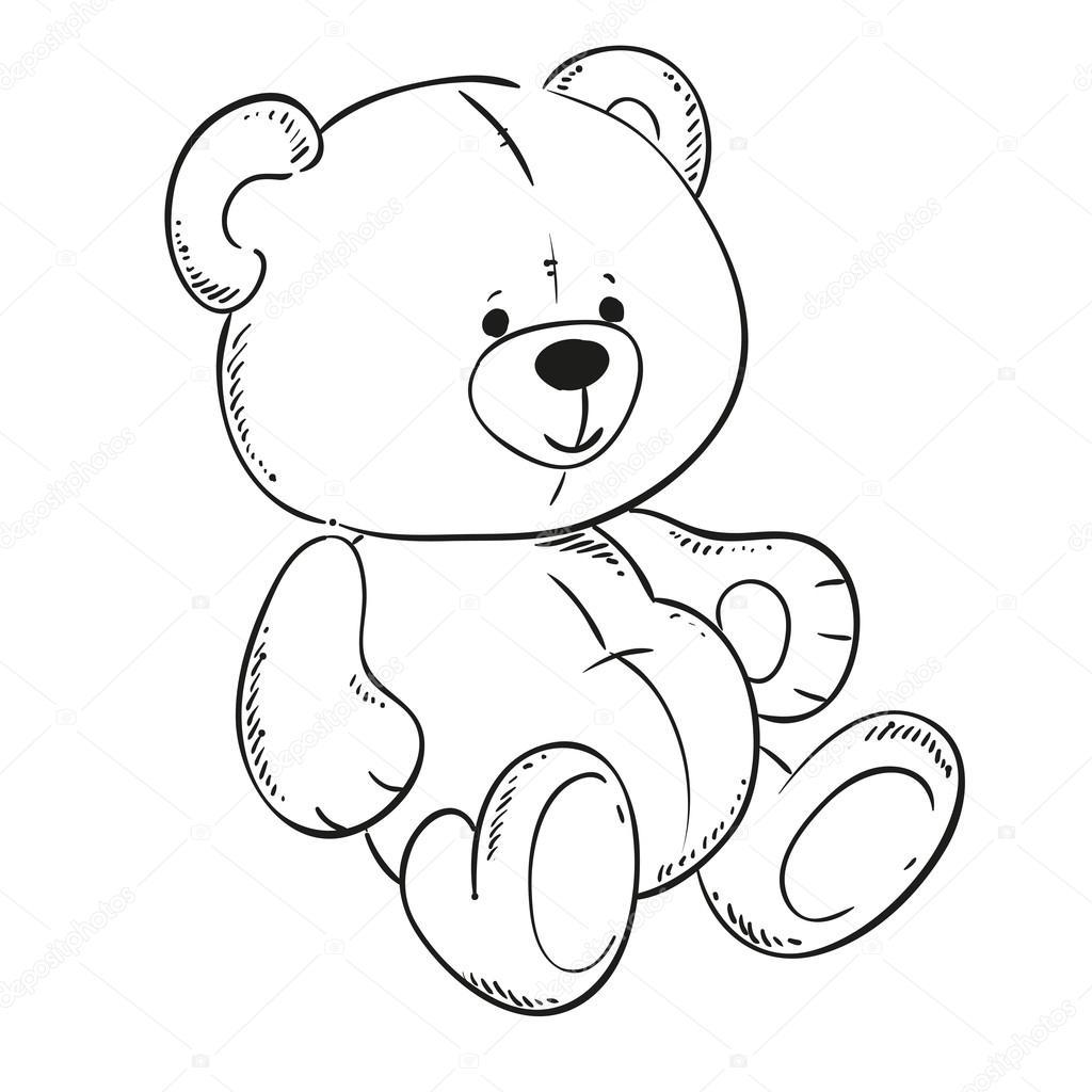 1024x1024 Cute Teddy Bear. Black Outline For Coloring Book. Vector Contour