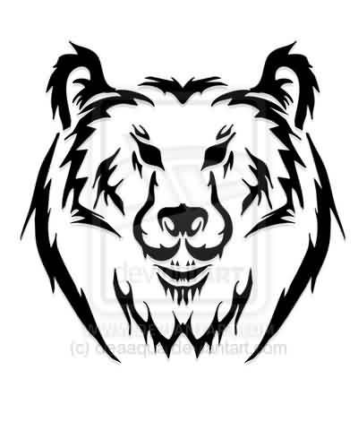 400x480 23 Best Bear Head Tribal Tattoo Designs For Men Images