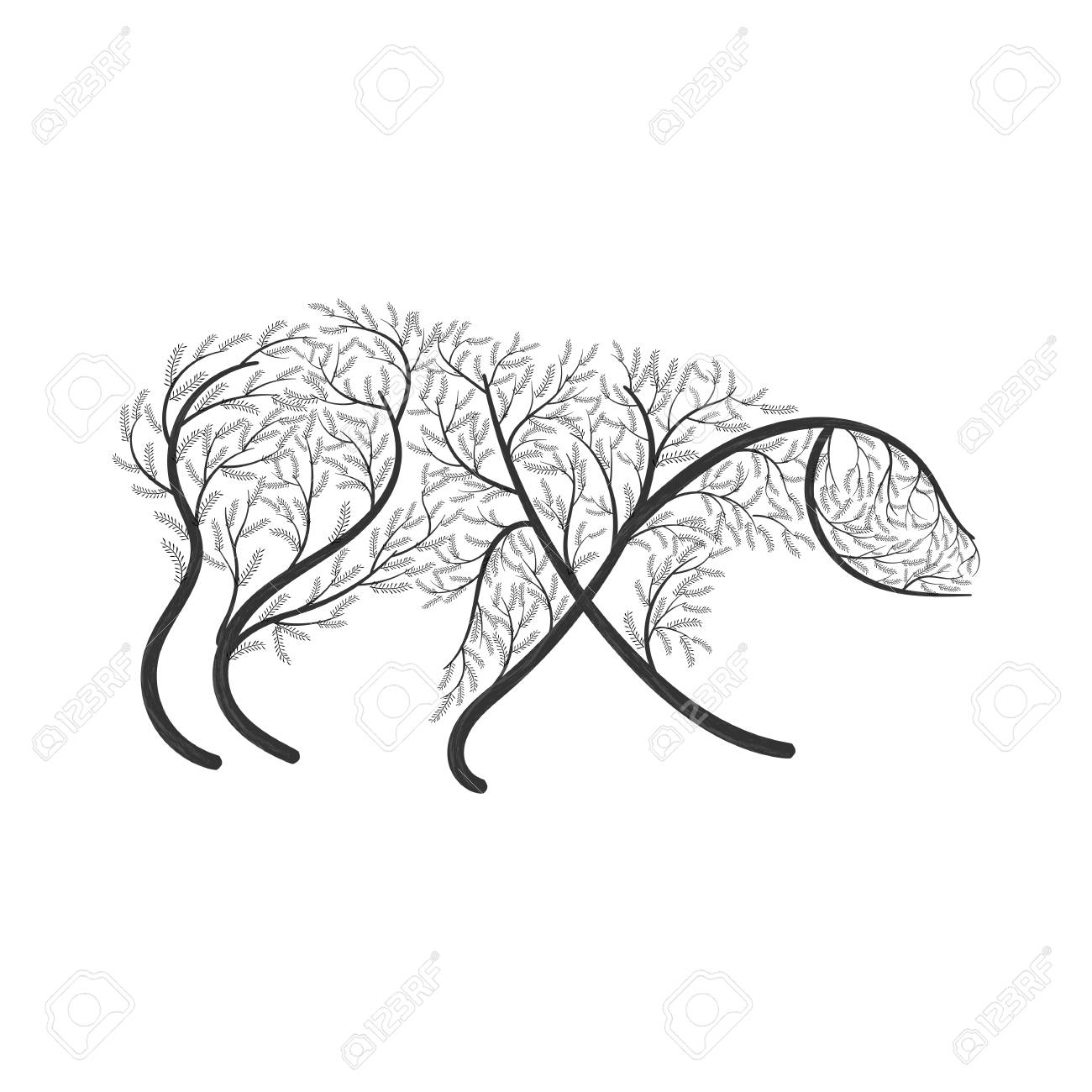 1300x1300 Polar Bear Stylized Bush For Use As Logos On Cards, In Printing