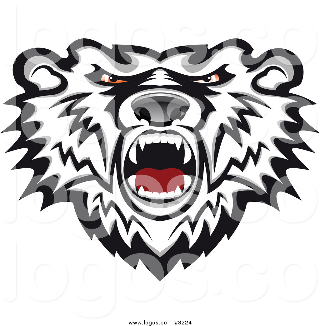 1024x1044 Royalty Free Vector Of A Mad Polar Bear Head Logo By Vector