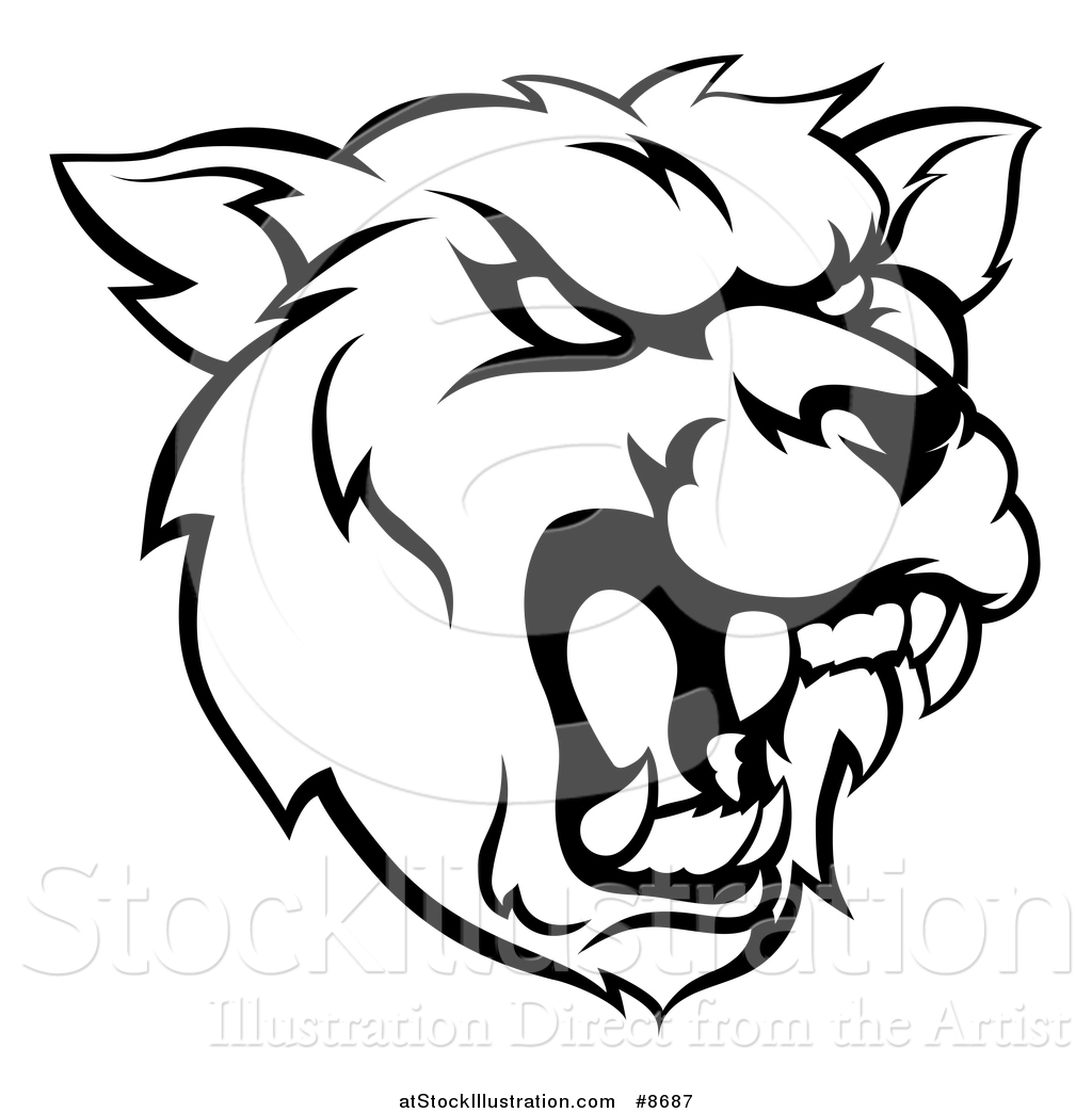 1024x1044 Vector Illustration Of A Black And White Roaring Grizzly Bear