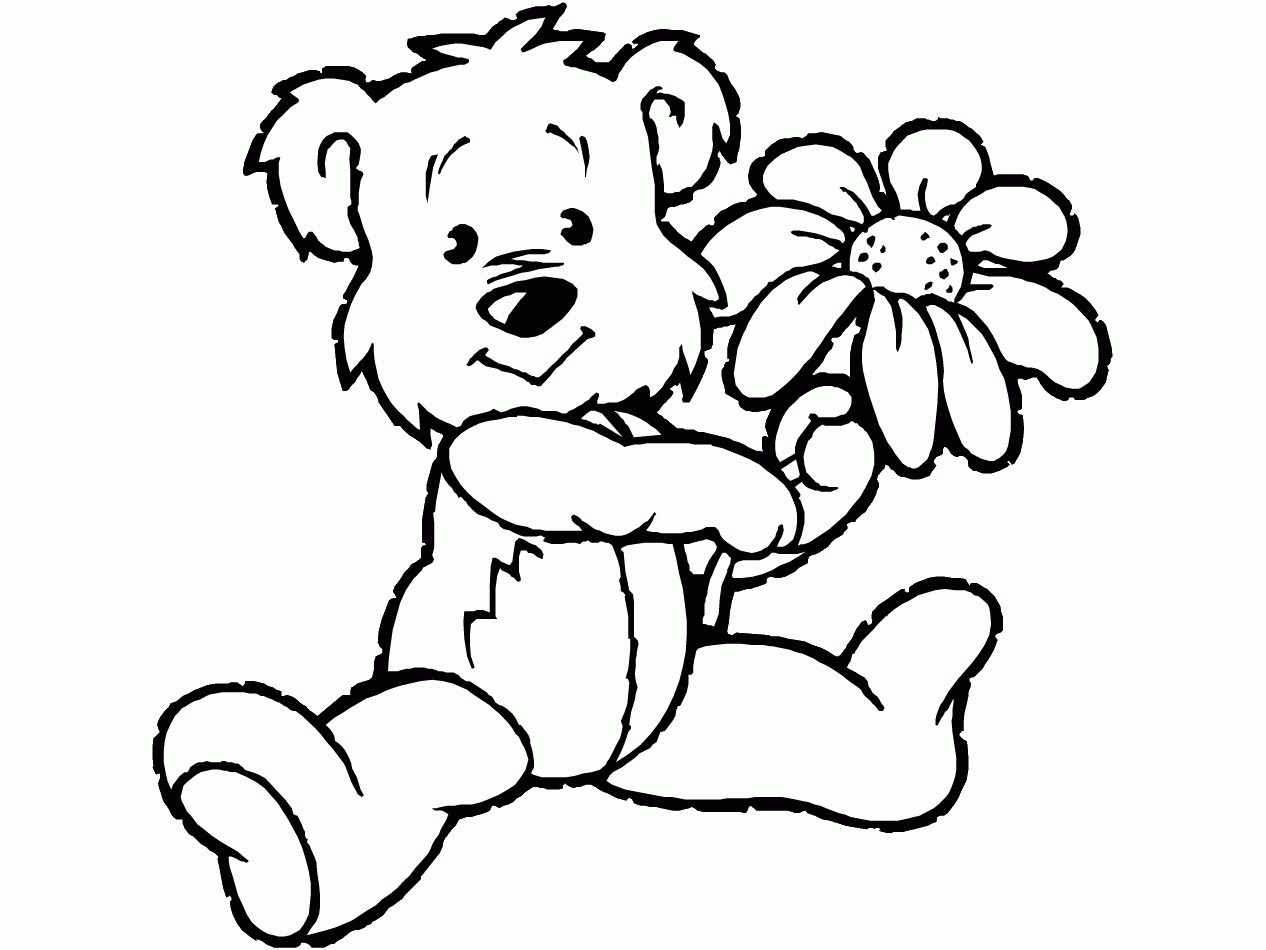 1266x950 Coloring Page Bear With Heart Best Of Teddy Bear And Heart
