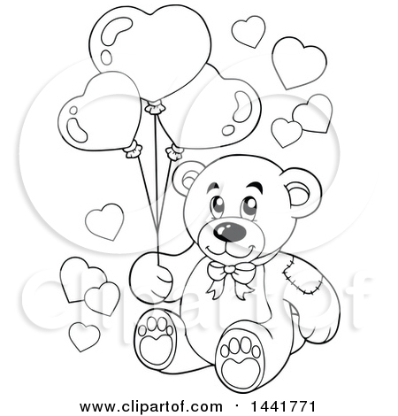 450x470 Clipart Of A Black And White Lineart Valentine Teddy Bear Holding