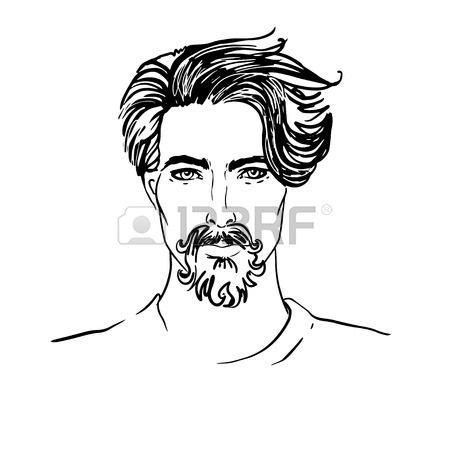 450x450 Hipster. Vector Of A Man Face With Beard Royalty Free Cliparts