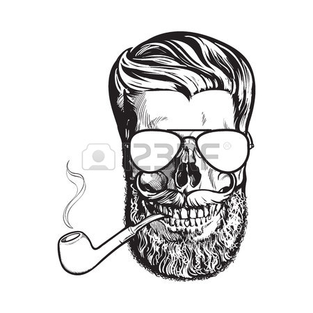450x450 Human Skull With Hipster Beard, Wearing Aviator Sunglasses