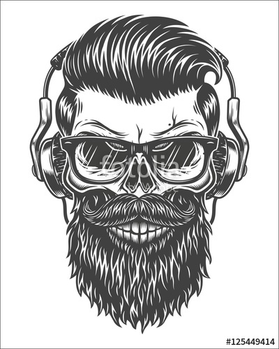 400x500 Monochrome Illustration Of Skull With Beard, Mustache, Hipster
