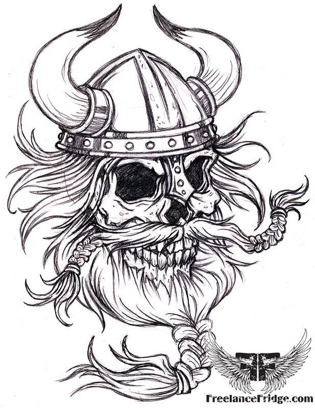617x800 Viking Skull With Beard Freelance Fridge Illustration